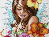 Hula Girl Drawing Polynesian Girl Art Hawaiian Hula Girl Tattoo Design by