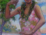 Hula Girl Drawing Young Woman Dancing by Arthur Johnsen Arthurjohnsen