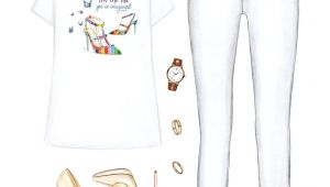 Jeans Drawing Tumblr Printed T Shirt White Jeans Nude Heels Fashion Cartoon Styl