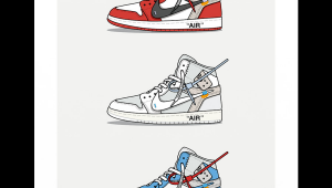 Jordan 1 Cartoon Drawing Triple Off White Jordan 1 In 2019 Art Sneaker Art Hypebeast