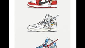 Jordan 1 Cartoon Drawing Triple Off White Jordan 1 In 2019 Art Sneaker Art Hypebeast