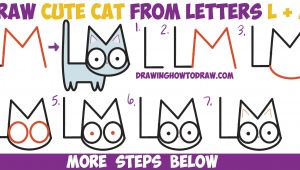 L Drawing Step by Step How to Draw A Cute Cartoon Kitten From Letters L M Easy Step by