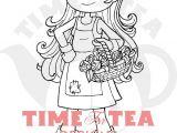 Line Drawing Girl Flowers Blooming Lovely Gardening Girl Digital Stamp Line Drawing Etsy