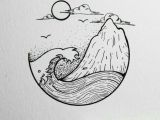 Mountain Easy Drawing Ocean and island Planner Doodles Sketches Drawings Art