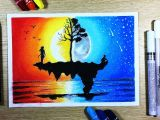 Oil Pastel Drawing Flowers Easy How to Draw Sunset Ft Moonlight Scenery with Oil Pastel Step