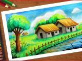 Oil Pastel Drawing Flowers Easy Indian Village Huts Scenery with Oil Pastels Step by Step