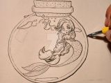 Outline Drawings Of Dragons Mermaid In the Bottle Outlined Sketch with Ink Mermaids and