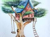 Painting Drawing Easy Artwork Treehouse Watercolour Painting Drawing Sketching