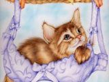 Pretty Drawing Of A Cat Kitty Found A Place to Rest On the Clothes Line Along with A Pretty