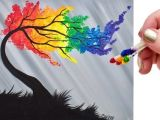 Q-tip Drawing Rainbow Willow Tree Q Tip Acrylic Painting for Beginners Tutorial