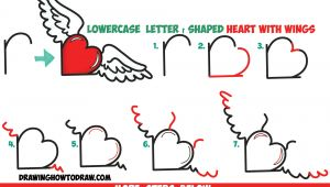 R Drawing Shapes How to Draw Heart with Wings From Lowercase Letter R Shapes Easy