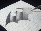 Scissors Drawing Easy 3d Batman Logo Hole Easy Trick Drawing Pencil Shading