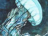 Seaweed Drawing Easy Aqua Jellyfish Print Of Watercolour Artwork In Dark