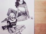 Skater Girl Drawing All that Sass Sketch Sketchbook Illustration