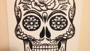 Skull Drawing Canvas 11×14 Screen Printed Sugar Skull Canvas Acraftyarray Art Canvas