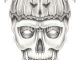 Skull Drawing for Pumpkin Art Surreal Pumpkin Mix Skull Hand Pencil Drawing On Paper Stock