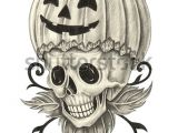 Skull Drawing for Pumpkin Skull Pumpkin Tattoo Halloween Day Hand Stockillustration 327007301