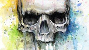 Skull Drawing for Wall Skull Art Skull Print Rainbow Skull Skull Wall Art Skull Gift