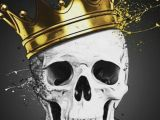 Skull Drawing with Crown Skull King Quirky Nerdy Strange Love Skull Art Skull Skull Artwork