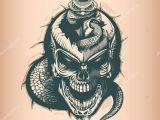 Skull Drawing with Snake Vintage Skull Sword Snake Monochrome Hand Drawn Tatoo Style Stock
