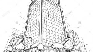 Skyscraper Drawing Easy Cartoon Vector Architectural Drawing Sketch Illustration Of