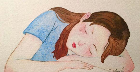 Sleeping Girl Drawing Sleeping Girl Watercolor Painting