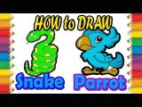 Snake Drawing Easy Step by Step Easy Drawing How to Draw Parrot and Snake Animals