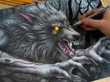 Speed Drawing Realistic Wolf Drawing Werewolf Youtube