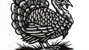 Turkey Animal Drawing Hand Carved Turkey Linocut Art Print Black and White Art
