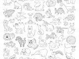 Weird Animal Drawings Groa En Vektorset Lustige Wilde Tiere Und Haustiere