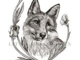 Wolf Drawing Flowers Bee and Clover 8×10 Digital Print Bumblebee Artwork Pen and Ink