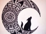 Wolf Drawing Mandala Wolf In the Moon Black Ink Mandala Drawing Brusho Zeichnungen