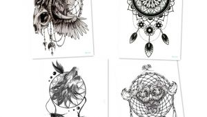 Wolf Dreamcatcher Drawing 4pcs Black Wolf with Feather Dreamcatcher Tattoos Lion Owl Cool