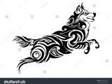 Wolf Jumping Drawing Leader Wolf Jumping Tribal Tattoo Silhouette Stock Vektorgrafik