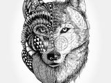 Wolf Zentangle Drawing Hand Gezeichnet Wolf Kopf Zentangle Stilisiert Wandposter Poster