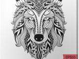 Wolf Zentangle Drawing Leinwandbild Details Zentangle Wolf Fur Malvorlagen Tatowierung T