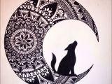 Wolves Moon Drawing Bilder Zum Nachmalen Einfach Abbild Wolf In the Moon Black Ink