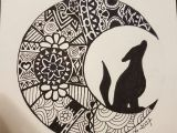 Wolves Moon Drawing Wolf In Moon Drawing Mandala Style Steemit