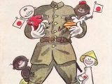 World War 2 Cartoon Drawings Japan Wwii Ca 1942 Propaganda Postcard for Occupied Countries