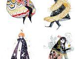 X Tumblr Drawing 4 Individual Mini Prints Red Black Gold Series