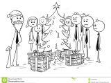 Xmas Cartoon Drawing Group Of Office Business People Around Christmas Tree Stock Vector