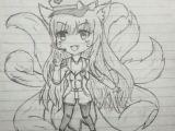 Zen Drawing Anime Lol Ahri Popstarahri Drawing Referenced Doodle Anime Gamer