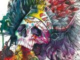 Zombie Drawing Ideas Zombie Divar Skull Watercolor Illustrations by Odji Drawing Ideas